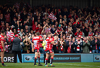 Gloucester supporters celebrate with their team after the match. Gallagher Premiership match, between Gloucester Rugby and Bath Rugby on April 13, 2019 at Kingsholm Stadium in Gloucester, England. Photo by: Patrick Khachfe / Onside Images