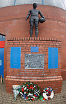 Wreaths for the victims of the 1961 Ibrox disaster at the John Greig statue