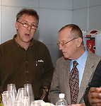Spencer Rumsey and Mike Dorman seen at Farewell party for Newsday Editor, Bob Keane, in auditorium of Newsday in Melville on Thursday February 2, 2006. (Photo Copyright Jim Peppler 2005).