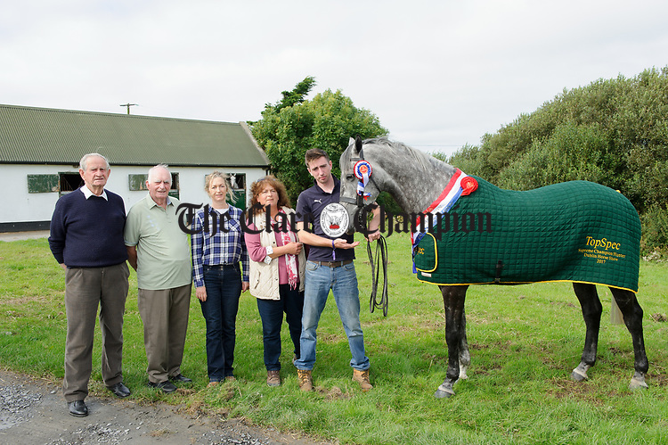 """""""Mossy"""" the Dublin Horse Show supreme hunter champion and heavyweight champion, pictured with Christy Kelly, Mullagh, Marie Kelly, breeder Tim Kelly, Fortview, Cree, owner Trudi Deja, Dromellihy, Cree and Patrick Downes, son of the late Paddy Downes, Dromellihy. Photograph by John Kelly."""