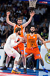 Real Madrid's player Andres Nocioni and Valencia Basket's Dubljevic and Shurna during the first match of the Semi Finals of Liga Endesa Playoff at Barclaycard Center in Madrid. June 02. 2016. (ALTERPHOTOS/Borja B.Hojas)