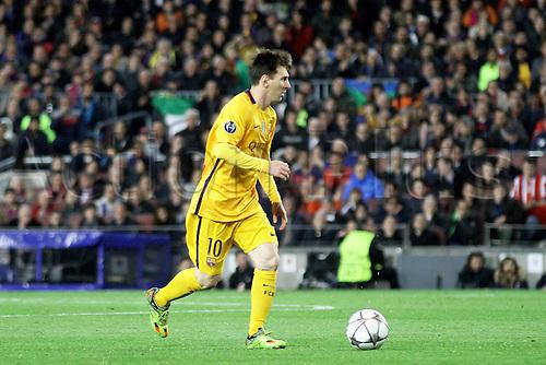 05.04.2016 Nou Camp, Barcelona, Spain. Uefa Champions League Quarter-finals 1st leg. FC Barcelona against Atletico de Madrid. Messi in action during the match