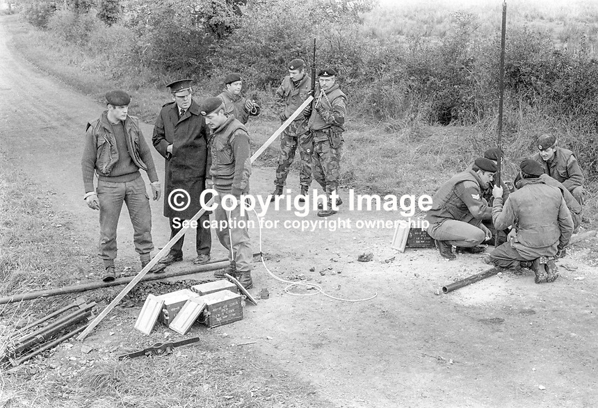 British army sappers lay explosive charges to crater a border road between Co Armagh in N Ireland and Co Monaghan in the Rep of Ireland. The cratering was a measure taken to hamper Provisional IRA gun and bomb attacks. 13th October 1971. 197110130427b<br />