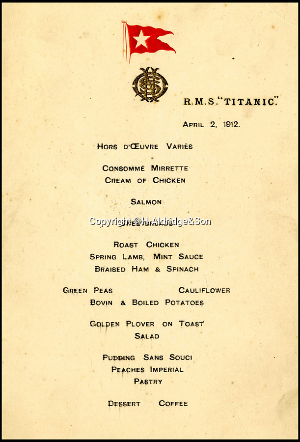 BNPS.co.uk (01202 558833)?Pic: H.Aldridge&Son/BNPS<br /> <br /> Second officer Charles Lightoller's Titanic menu for the first meal ever served on Titanic during sea trials, April 2nd 1912.<br /> <br /> A menu for the first ever meal served on Titanic has sold for a world record £100,000.<br /> <br /> The incredibly rare postcard-size menu was for lunch on April 2, 1912, which was the first day of the doomed liner's sea trials in the Irish Sea.<br /> <br /> Senior officers, officials from shipbuilders Harland and Wolff and VIPs sat down in the main dining saloon.<br /> <br /> In keeping with the opulent surroundings and the quality of fare to be served to the first class passengers, the small group indulged in only the finest of food.<br /> <br /> There was consumme mirrette and cream of chicken to start, salmon and sweat bread for the fish course, spring lamb, roast chicken and braised ham for mains and pudding sans souci and peaches imperial for desert followed by coffee.