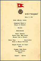 BNPS.co.uk (01202 558833)?Pic: H.Aldridge&amp;Son/BNPS<br /> <br /> Second officer Charles Lightoller's Titanic menu for the first meal ever served on Titanic during sea trials, April 2nd 1912.<br /> <br /> A menu for the first ever meal served on Titanic has sold for a world record &pound;100,000.<br /> <br /> The incredibly rare postcard-size menu was for lunch on April 2, 1912, which was the first day of the doomed liner's sea trials in the Irish Sea.<br /> <br /> Senior officers, officials from shipbuilders Harland and Wolff and VIPs sat down in the main dining saloon.<br /> <br /> In keeping with the opulent surroundings and the quality of fare to be served to the first class passengers, the small group indulged in only the finest of food.<br /> <br /> There was consumme mirrette and cream of chicken to start, salmon and sweat bread for the fish course, spring lamb, roast chicken and braised ham for mains and pudding sans souci and peaches imperial for desert followed by coffee.