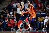 Washington, DC - July 30, 2019: Washington Mystics forward Elena Delle Donne (11) makes a move to the basket guarded by Phoenix Mercury forward DeWanna Bonner (24) during first half action of game between the Phoenix Mercury and Washington Mystics at the Entertainment & Sports Arena in Washington, DC. (Photo by Phil Peters/Media Images International)