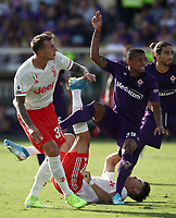 Calcio, Serie A: Fiorentina - Juventus, stadio Artemio Franchi Firenze 14 settembre 2019<br /> Juventus' Cristiano Ronaldo (second from right) in action with Fiorentina's Dalbert (second from left) during the Italian Serie A football match between Fiorentina and Juventus at Florence's Artemio Franchi stadium, September 14, 2019. <br /> UPDATE IMAGES PRESS/Isabella Bontto
