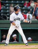 Infielder/second baseman Will Muzika (2) of the Furman Paladins in a game against the Georgia Bulldogs on Wednesday, March 2, 2011, at Fluor Field in Greenville, S.C.  Photo by Tom Priddy / Four Seam Images