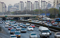 Congested traffic on Beijing motorway, China