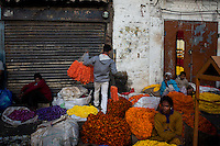 Flower market in Bangalore, India.