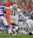 21 September 2008: Oakland Raiders' placekicker Sebastian Janikowski kicks a 33-yard fieldgoal in the second quarter against the Buffalo Bills at Ralph Wilson Stadium in Orchard Park, NY. The Bills rallied for 10 unanswered points in the 4th quarter to defeat the Raiders 24-23...Mandatory Photo Credit: Ed Wolfstein Photo