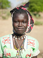 Portrait of a girl of the Nuba tribe in Nyaro village, Kordofan region, Sudan