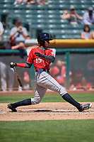 Raimel Tapia (15) of the  Albuquerque Isotopes bats against the Salt Lake Bees at Smith's Ballpark on April 22, 2018 in Salt Lake City, Utah. The Bees defeated the Isotopes 11-9. (Stephen Smith/Four Seam Images)