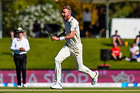 Stuart Broad of England takes the wicket of Kane Williamson of the Black Caps during the final day of the Second International Cricket Test match, New Zealand V England, Hagley Oval, Christchurch, New Zealand, 3rd April 2018.Copyright photo: John Davidson / www.photosport.nz