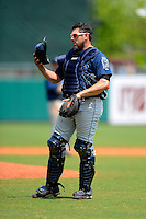 Mobile BayBears catcher Humberto Cota #20 during a game against the Montgomery Biscuits on April 16, 2013 at Riverwalk Stadium in Montgomery, Alabama.  Montgomery defeated Mobile 9-3.  (Mike Janes/Four Seam Images)