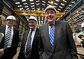 Visit of Alex Salmond to Steel Engineering in Renfrew - here with company Director Peter Breslin (left) and Man Dir David Maxwell - Picture by Donald MacLeod - 27.04.11 - 07702 319 738 - www.donald-macleod.com