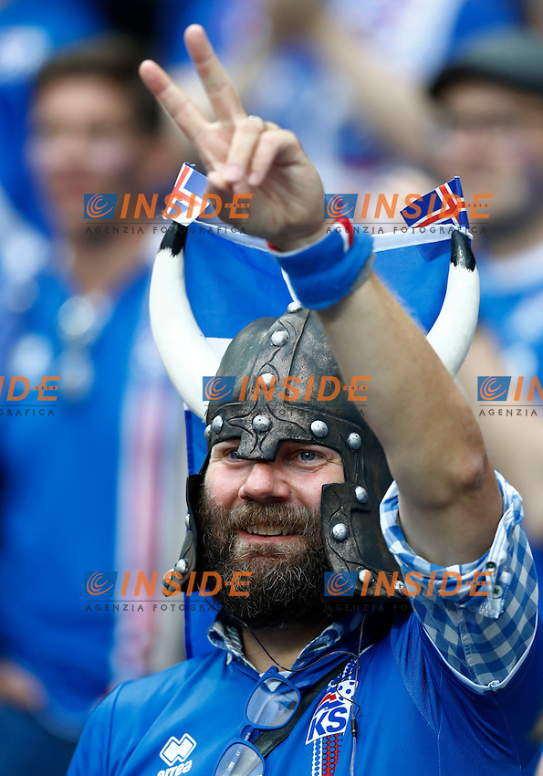 Iceland supporter. tifoso islandese<br /> Paris 03-07-2016 Stade de France Football Euro2016 France - Iceland / Francia - Islanda Quarter finals <br /> Foto Matteo Ciambelli / Insidefoto