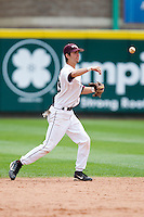 Kevin Medrano (13) of the Missouri State Bears throws to first base during a game against the Bradley Braves on May 13, 2011 at Hammons Field in Springfield, Missouri.  Photo By David Welker/Four Seam Images