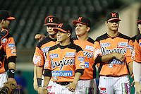 Jorge Flores  de naranjeros , durante el juego a beisbol de Naranjeros vs Cañeros durante la primera serie de la Liga Mexicana del Pac