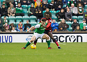 4th November 2017, Easter Road, Edinburgh, Scotland; Scottish Premiership football, Hibernian versus Dundee; Hibernian's John McGinn and Dundee's Glen Kamara battle for the ball