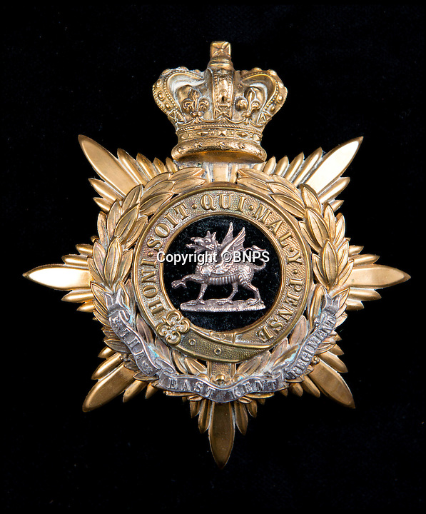 BNPS.co.uk (01202 558833)<br /> Pic: TomWren/BNPS<br /> <br /> The East Kent Regiment.<br /> <br /> A stunning collection of military badges amassed by one man has been unearthed to remember the lost regiments of the British Army.<br /> <br /> More than 800 brass badges recovered from old pith helmets, peaked caps and military tunics were amassed by the late collector over a lifetime.<br /> <br /> Many of the insignia date back to the Victorian era and represent regiments which no longer exist or which have been amalgamated, having either been decimated in the First World War or wiped out by government cuts.<br /> <br /> The collection is being sold by Charterhouse Auctioneers of Dorset.