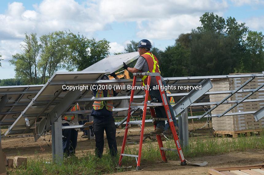 Installing solar panels detail