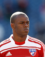 FC Dallas midfielder Jackson Goncalves (6)..  In a Major League Soccer (MLS) match, FC Dallas (red) defeated the New England Revolution (blue), 1-0, at Gillette Stadium on March 30, 2013.