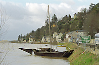 A traditional typical for the region boat in winter on the River Vienne at Chinon Indre et Loire France, INDRE ET LOIRE FRANCE