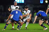 Rob Webber of Bath Rugby takes on the Leinster defence. European Rugby Champions Cup match, between Leinster Rugby and Bath Rugby on January 16, 2016 at the RDS Arena in Dublin, Republic of Ireland. Photo by: Patrick Khachfe / Onside Images