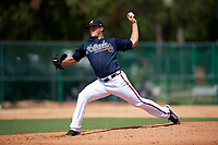 Atlanta Braves pitcher Tanner Allison (20) delivers a pitch during an Instructional League game against the Detroit Tigers on October 10, 2017 at the ESPN Wide World of Sports Complex in Orlando, Florida.  (Mike Janes/Four Seam Images)