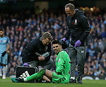 Victor Valdes of Middlesbrough receives treatment for a hole in his thigh during the Premier League match at the Etihad Stadium, Manchester. Picture date: November 5th, 2016. Pic Simon Bellis/Sportimage