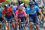 Mikel Landa Meana (ESP) Movistar Team attacks with Maglia Rosa Richard Carapaz (ECU) and Vincenzo Nibali (ITA) Bahrain-Merida behind during Stage 20 of the 2019 Giro d'Italia, running 194km from Feltre to Croce d'Aune-Monte Avena, Italy. 1st June 2019<br /> Picture: POOL/Luca Bettini/BettiniPhoto | Cyclefile<br /> <br /> All photos usage must carry mandatory copyright credit (© Cyclefile | Luca Bettini/BettiniPhoto)