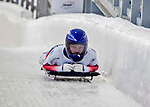 8 January 2016: Laura Deas, competing for the United Kingdom, crosses the finish line on her first run of the BMW IBSF World Cup Skeleton race at the Olympic Sports Track in Lake Placid, New York, USA. Mandatory Credit: Ed Wolfstein Photo *** RAW (NEF) Image File Available ***