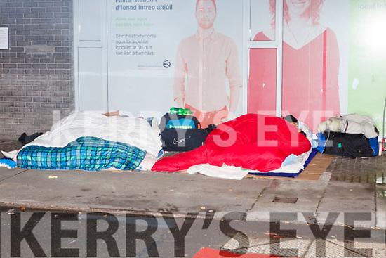 Sleeping rough in Edward Street on last Saturday night.