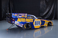 Jan 10, 2017; Brownsburg, IN, USA; Portrait of the car of NHRA funny car driver Ron Capps during a photo shoot at Don Schumacher Racing. Mandatory Credit: Mark J. Rebilas-USA TODAY Sports