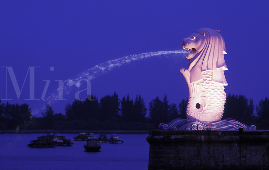 Singapore The Merlion fountain in evening light