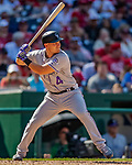 14 April 2018: Colorado Rockies infielder Pat Valaika at bat against the Washington Nationals at Nationals Park in Washington, DC. The Nationals rallied to defeat the Rockies 6-2 in the 3rd game of their 4-game series. Mandatory Credit: Ed Wolfstein Photo *** RAW (NEF) Image File Available ***