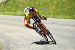 Race leader Richie Porte (AUS) isolated from his BMC Racing Team during Stage 8 of the Criterium du Dauphine 2017, running 115km from Albertville to Plateau de Solaison, France. 11th June 2017. <br /> Picture: ASO/A.Broadway | Cyclefile<br /> <br /> <br /> All photos usage must carry mandatory copyright credit (&copy; Cyclefile | ASO/A.Broadway)