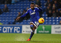 Junior Hoilett of Cardiff City takes a free kick during the Sky Bet Championship match between Cardiff City and Preston North End at Cardiff City Stadium, Wales, UK. Tuesday 31 January 2017