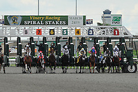 Gung Ho (7-red cap) ridden by Javier Castellano, stumbles out of the gate at the start of the 28th running of the Rushaway Stakes at Turfway Park in Florence, Kentucky on Saturday March 24, 2012.