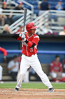 Batavia Muckdogs designated hitter Iramis Olivencia (7) at bat during a game against the Auburn Doubledays on June 16, 2014 at Dwyer Stadium in Batavia, New York.  Batavia defeated Auburn 4-3.  (Mike Janes/Four Seam Images)
