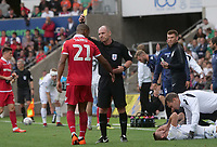Referee Scott Duncan shows Nottingham Forest&rsquo;s Saidy Janko<br /> <br /> Photographer Ian Cook/CameraSport<br /> <br /> The EFL Sky Bet Championship - Swansea City v Nottingham Forest - Saturday 15th September 2018 - Liberty Stadium - Swansea<br /> <br /> World Copyright &copy; 2018 CameraSport. All rights reserved. 43 Linden Ave. Countesthorpe. Leicester. England. LE8 5PG - Tel: +44 (0) 116 277 4147 - admin@camerasport.com - www.camerasport.com