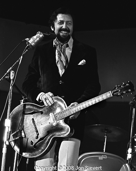 """Barney Kessel, July 28, 1974, Concord Summer Festival. American jazz guitarist who drew his first inspiration from Charlie Christian. He was a member of many prominent jazz groups as well as a """"first call"""" guitarist for studio, film, and television recording sessions. Kessel was a member of the group of first-call L.A. session musicians known as The Wrecking Crew that produced hundreds of hits in all styles of music."""
