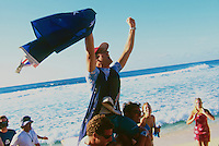 Jake Paterson (AUS) won the 1998 Mountain Dew Pipeline Masters defeating Bruce Irons (HAW) on the last wave ridden. Paterson pulled into a Backdoor barrel in the dying seconds and captured the score he needed to win. Photo: joliphotos.com