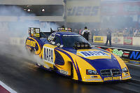 Sept. 16, 2012; Concord, NC, USA: NHRA funny car driver Ron Capps during the O'Reilly Auto Parts Nationals at zMax Dragway. Mandatory Credit: Mark J. Rebilas-