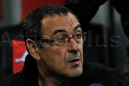 April 30th 2017, San Siro Stadium, Milan, Italy;  Murizzio Sarri head coach of Napoli during the Serie A football match, Inter Milan versus Napoli;  Napoli won the game by a score of 0-1