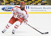 Ross Gaudet (BU - 22) - The Harvard University Crimson defeated the Boston University Terriers 5-4 in the 2011 Beanpot consolation game on Monday, February 14, 2011, at TD Garden in Boston, Massachusetts.