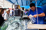 Salt cod for sale in a Sunday market in Puigcerda, Catalonia