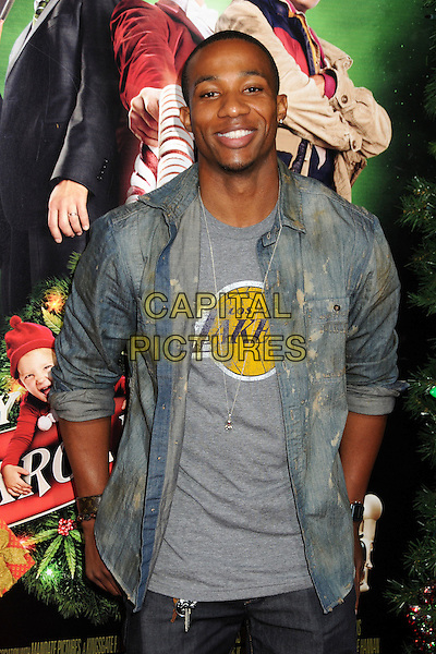 Arlen Escarpeta.'A Very Harold & Kumar 3D Christmas' Los Angeles premiere, Grauman's Chinese Theatre, Hollywood, California, USA..2nd November 2011.half length denim grey gray top lakers jean jacket.CAP/ADM/BP.©Byron Purvis/AdMedia/Capital Pictures.