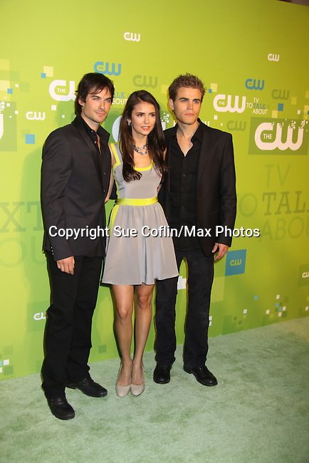 Ian Somerhalder, Nina Dobrev, Guiding Light Paul Wesley - The Vampire Diaries at the CW Upfront 2011 green carpet arrivals at Jazz at Lincoln Center, New York City, New York on May 18, 2011. (Photo by Sue Coflin/Max Photos)